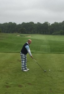 Terry Arnold on the 1st tee. No comment on the trousers allowed....